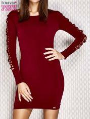 Sukienka ze sznurowaniem na ramionach bordowa