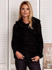 Sweter damski z błyszczącą nitką czarny