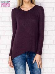 Sweter z dekoltem w serek i dłuższym tyłem ciemnofioletowy
