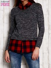 Sweter z koszulą w kratę ciemnoszary