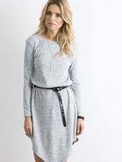 Szara asymetryczna sukienka w prążek