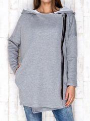 Szara bluza z asymetrycznym suwakiem