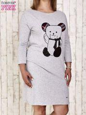 Szara sukienka dresowa z misiem PLUS SIZE
