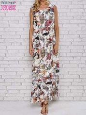 Szara sukienka maxi z motywem leopard print