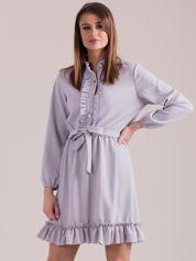 Szara sukienka z falbankami