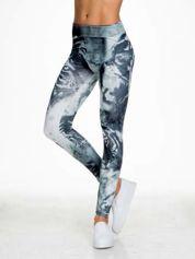 Szare legginsy w abstrakcyjny wzór