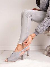 Szare zabudowane sandały SERGIO LEONE z ażurową cholewką