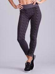 Szaro-czarne wzorzyste legginsy sportowe