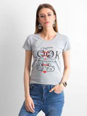 Szary bawełniany t-shirt damski z nadrukiem