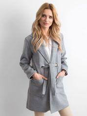 Szary flauszowy płaszcz z paskiem