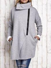 Szary płaszcz dresowy z asymetrycznym suwakiem i wysokim kołnierzem