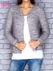 Szary sweter long hair zapinany na haftkę