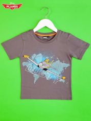 Szary t-shirt chłopięcy SAMOLOTY