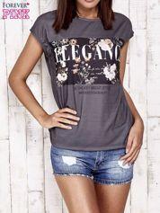 Szary t-shirt z napisem ELEGANCE