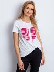 T-shirt biały cut out z sercem
