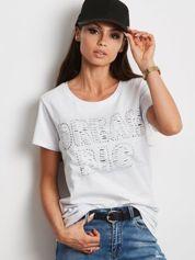 T-shirt biały z napisem cut out