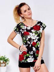 T-shirt czarny w róże