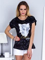 T-shirt czarny z jelonkiem