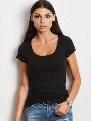 T-shirt czarny z wycięciami z tyłu