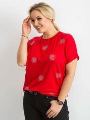 T-shirt damski plus size z aplikacją czerwony