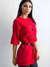 T-shirt damski z bawełny czerwony