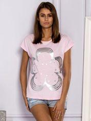 T-shirt damski z kwiatem jasnoróżowy