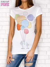 T-shirt damski z napisem balonów ecru