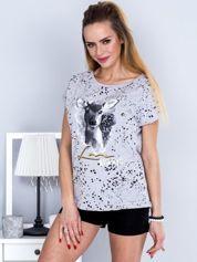 T-shirt jasnoszary z jelonkiem