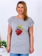 T-shirt jasnoszary z truskawką PLUS SIZE