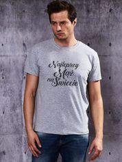 T-shirt męski NAJLEPSZY MĄŻ NA ŚWIECIE szary
