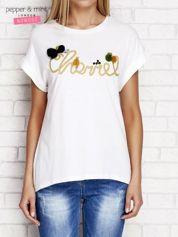 T-shirt oversize z napisem i pomponami ecru