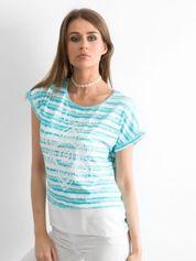 T-shirt w paski z nadrukiem turkusowy