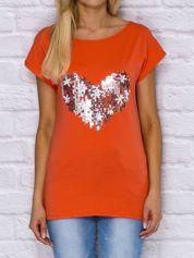 T-shirt z cekinowym sercem i kwiatkami pomarańczowy