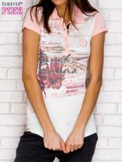 T-shirt z malarskim nadrukiem jasnoróżowy
