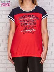 T-shirt z nadrukiem ciemnokoralowy PLUS SIZE