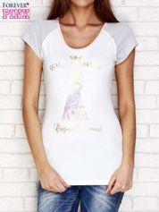 T-shirt z nadrukiem i wycięciem na plecach biały