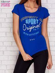 T-shirt z naszywkowymi literami ciemnoniebieski