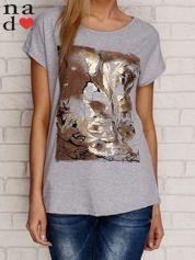 T-shirt z pozłacanym nadrukiem szary
