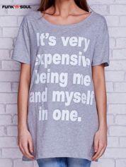 T-shirt z zabawnym napisem FUNK N SOUL szary