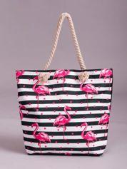 Torba na zakupy w paski i flamingi