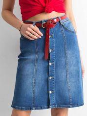 Trapezowa spódnica jeansowa niebieska