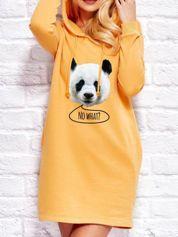 Tunika dresowa z nadrukiem pandy ciemnożółta