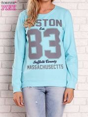 Turkusowa bluza z napisem BOSTON 83