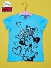 Turkusowy t-shirt dla dziewczynki z cekinami MYSZKA MIKI