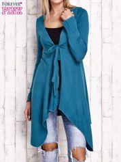 Turkusowy wiązany asymetryczny sweter