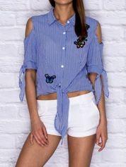 Wiązana koszula w paski z naszywkami ciemnoniebieska