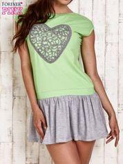 Zielona dresowa sukienka tenisowa z sercem