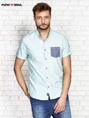 Zielona koszula męska z kontrastową kieszonką FUNK N SOUL