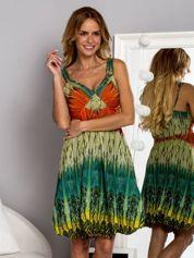 Zielona sukienka dzienna na ramiączka w stylu etno