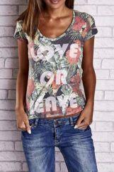 Zielony t-shirt z motywem floral i napisem LOVE OR LEAVE